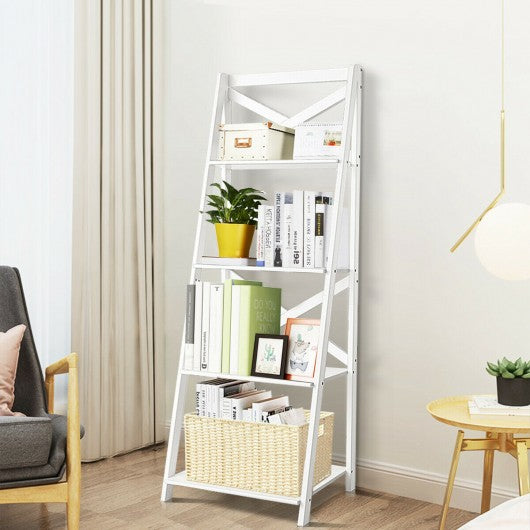 4-tier Leaning Free Standing Ladder Shelf Bookcase-White