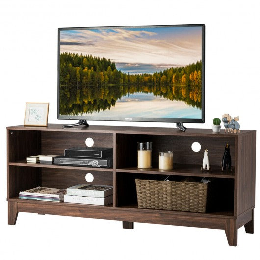 "58"" Modern Entertainment Media Center Wood TV Stand-Walnut"