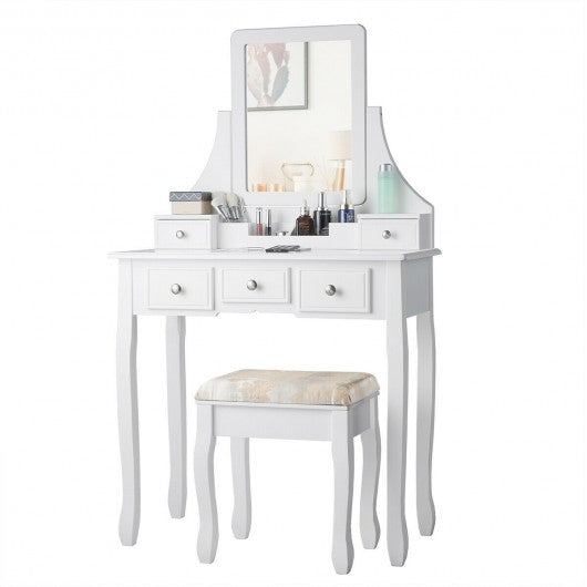 5 Drawers Removable Box Makeup Dressing Vanity Set-White
