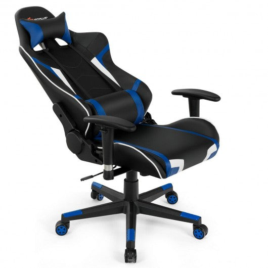 Reclining Swive Massage Gaming Chair-Blue