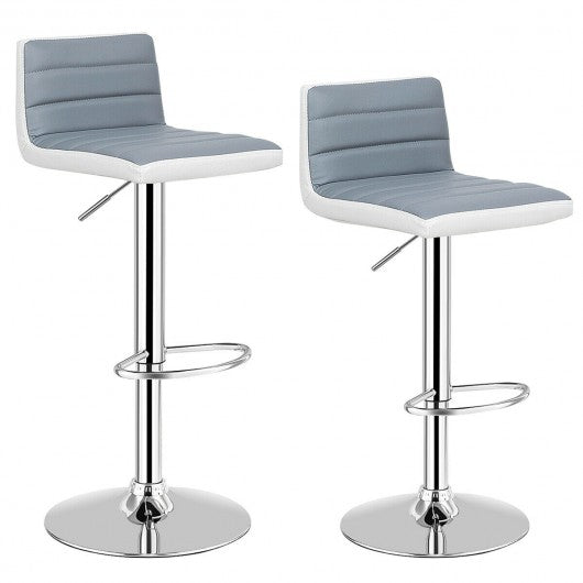 Set of 2 Adjustable PU Leather Bar Stools