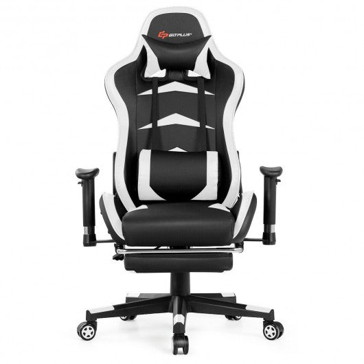 Massage Gaming Chair with Footrest-White