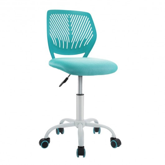 Adjustable Office Task Desk Armless Chair-Turquoise