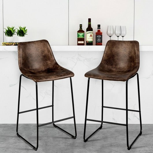 Set of 2 Bar Stool Faux Suede Upholstered Chair-Brown