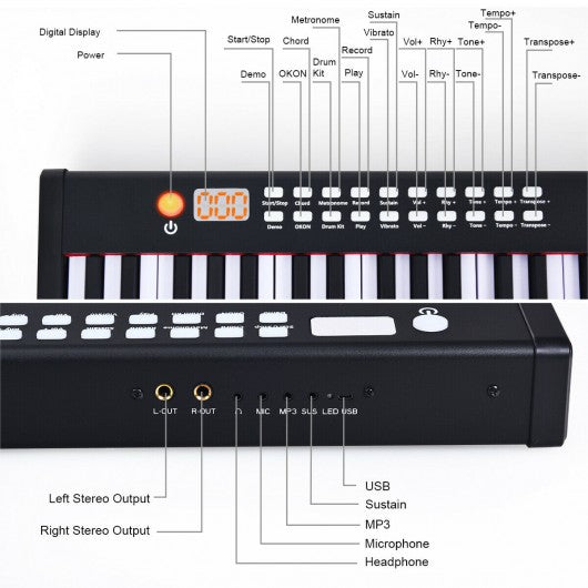 BX-II 61 Key Digital Piano Touch sensitive with Bluetooth and MP3-White
