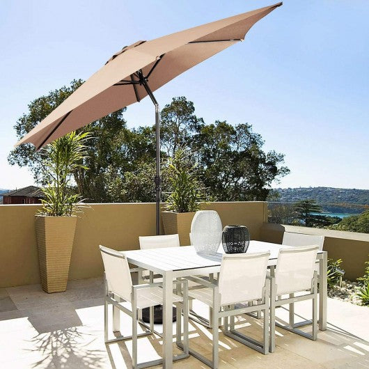 9FT Patio Umbrella Patio Market Steel Tilt W- Crank Outdoor Yard Garden-Beige