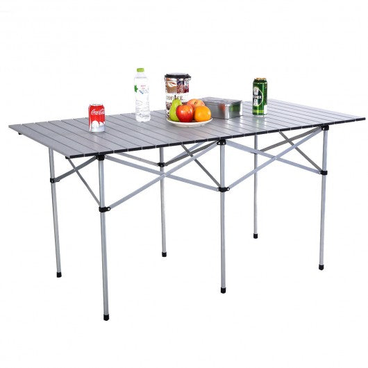 Aluminum Roll Up Folding Camping Rectangle Picnic Table
