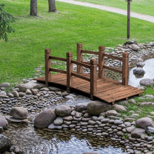 5' Wooden Garden Bridge Arc Stained Finish Footbridge Decorative