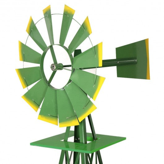 8' Tall Garden Ornamental Windmill-Green