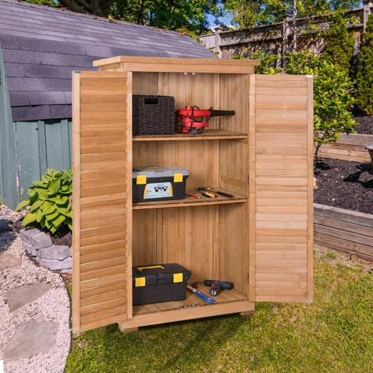 "63"" Tall Wooden Garden Storage Shed in Shutter Design"