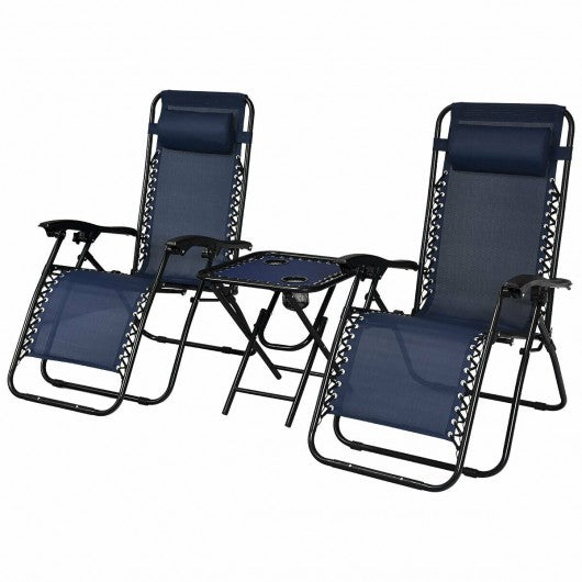 3 pcs Folding Portable Zero Gravity Reclining Lounge Chairs Table-Navy