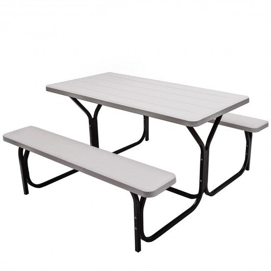 Outdoor Picnic Garden Party Table And Bench Set-White