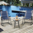 3 pcs Outdoor Folding Rocking Chair Table Set-Blue