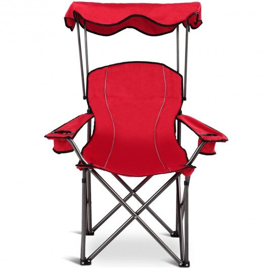 Portable Folding Beach Canopy Chair with Cup Holders-Red