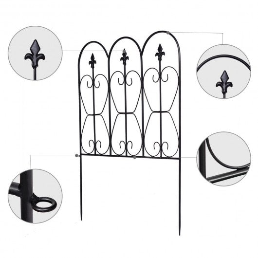 Folding Decorative Garden Fence with 5 Coated Metal Panels