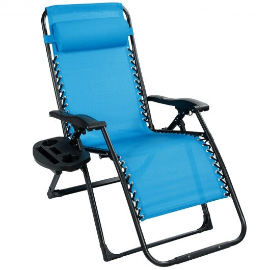 Oversize Lounge Chair Patio Heavy Duty Folding Recliner-Blue
