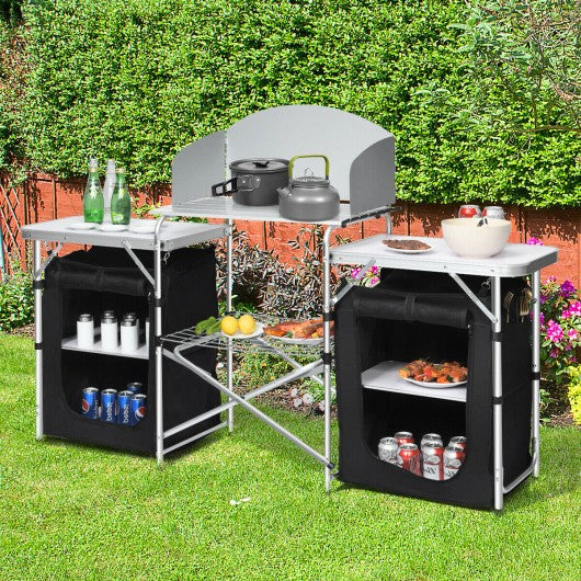 Folding Camping Table w- Storage Organizer
