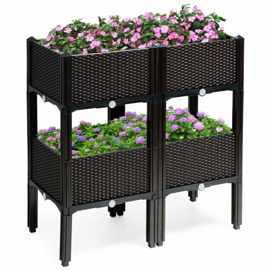 Set of 4 Elevated Flower Vegetable Herb Grow Planter Box-Brown