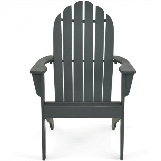 Outdoor Solid Wood Durable Patio Adirondack Chair-Gray