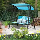 Outdoor Porch Steel Hanging 2-Seat Swing Loveseat with Canopy-Green
