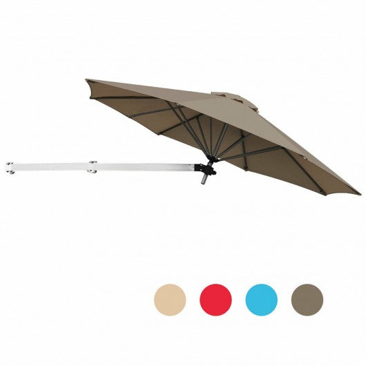 8ft Wall-Mounted Telescopic Folding Tilt Aluminum Sun Shade Umbrella-Tan