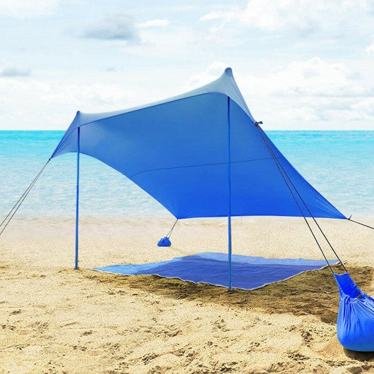 7' x 7' Family Beach Tent Canopy Sunshade w- 4 Poles-Blue