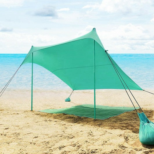 7' x 7' Family Beach Tent Canopy Sunshade w- 4 Poles-Green
