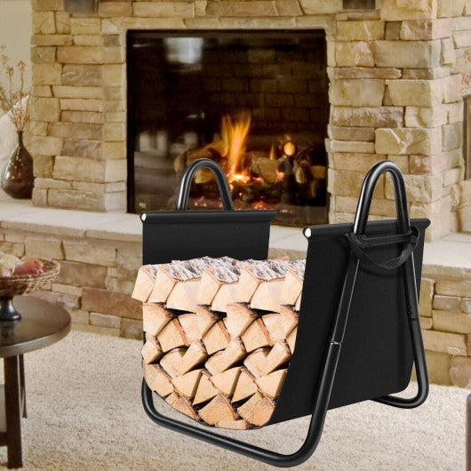 Firewood Rack Log Holder with Canvas Tote Carrier