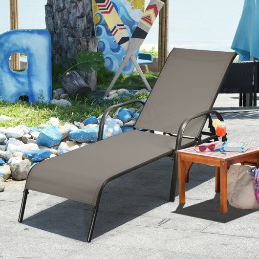 Adjustable Patio Chaise Outdoor Folding Lounge-Brown