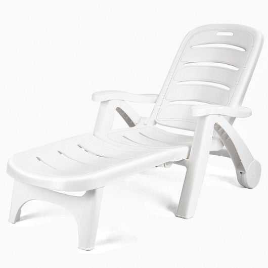 5 Position Adjustable Patio Recliner Chair with Wheels