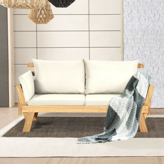 Adjustable  Patio Convertible Sofa with Thick Cushion-White