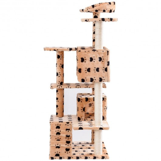 "52"" Cat Scratching Post and Ladder Kitten Tower Tree -Beige & Paws"