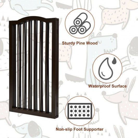 3-Panel Wooden Freestanding Pet Gate w- Arched Top