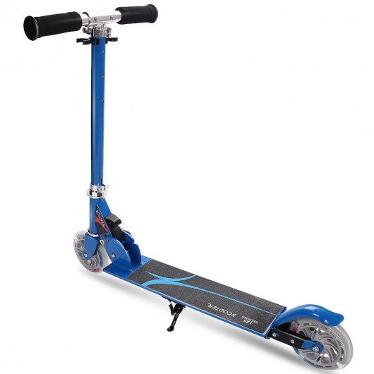 Folding Aluminum Kids Kick Scooter with LED Lights-Blue