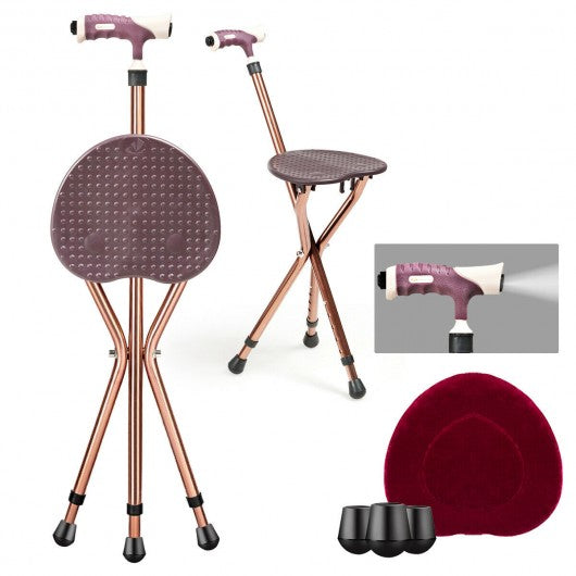 Lightweight Adjustable Folding Cane Seat with Light