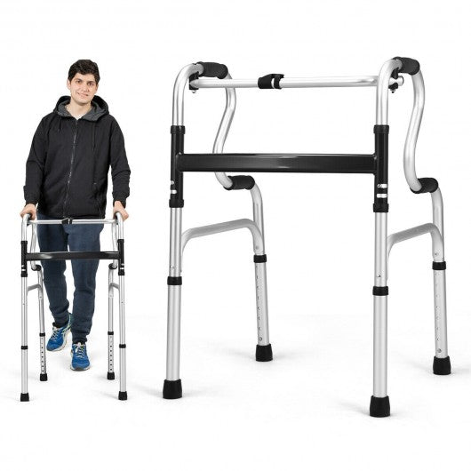 One-Button Folding Aluminum Walking Frame Walker