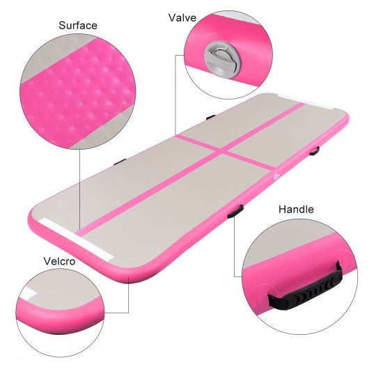 Air Track Inflatable Gymnastics Tumbling Floor Mats with Pump-Pink