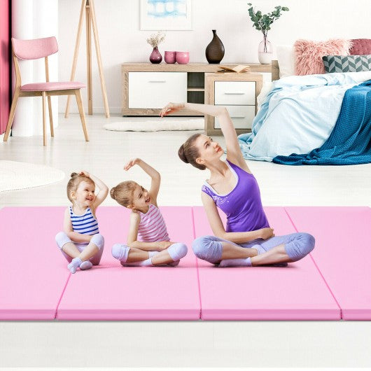 "4' x 8' x 2"" Gymnastics Mat Thick Folding Panel Aerobics Exercise Mat-Pink"