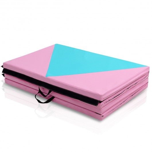 "4' x 10' x 2"" Folding Portable Exercise Gymnastics Mat -Pink"