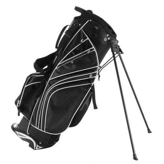 Golf Stand Cart Bag with 6-Way Divider Carry Pockets-Black