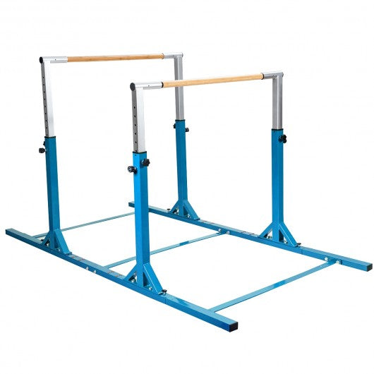 Kids Double Horizontal Bars Gymnastic Training Parallel Bars Adjustable-Blue
