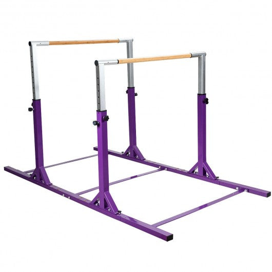 Kids Double Horizontal Bars Gymnastic Training Parallel Bars Adjustable-Purple
