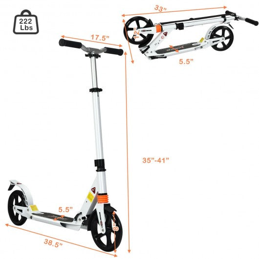 Folding Aluminium Adjustable Kick Scooter with Shoulder Strap-White