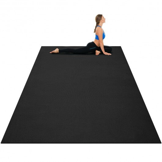 7' x 5' x 8 mm Thick Workout Yoga Mat-Black