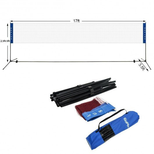 Portable 17'x5' Badminton Training Net with Carrying Bag