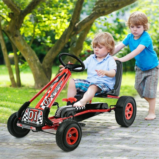 4 Wheels Kids Ride On Pedal Powered Bike Go Kart Racer Car Outdoor Play Toy-Red