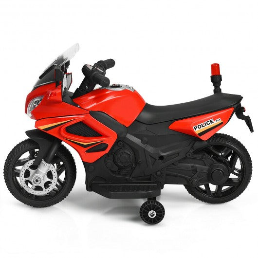 6V Kids 4-Wheel Ride On Police Motorcycle with Training Wheels-Red