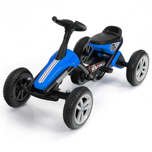 4 Wheel Pedal Powered Ride on Racer Car for Kids-Blue