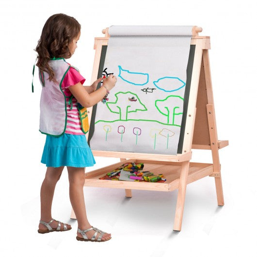 All in One Kid's Double Side Wooden Art Easel with Paper Roll