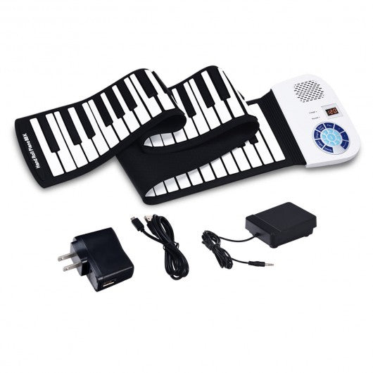 88 Keys Midi Electronic Roll up Piano Silicone Keyboard-White